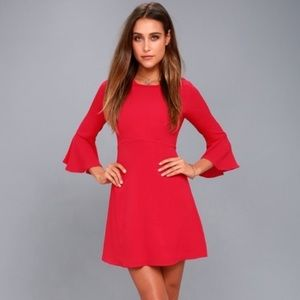 Lulus Center of Attention Red Flounce Sleeve Dress